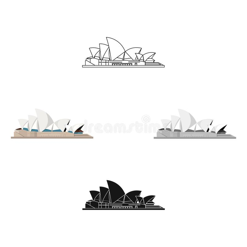 Sydney Opera House symbol i tecknade filmen, svart stil som isoleras p? vit bakgrund Illustration f?r vektor f?r landssymbolmater stock illustrationer