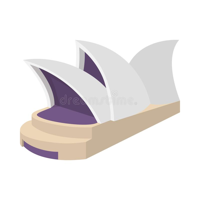 Sydney Opera House symbol, tecknad filmstil royaltyfri illustrationer