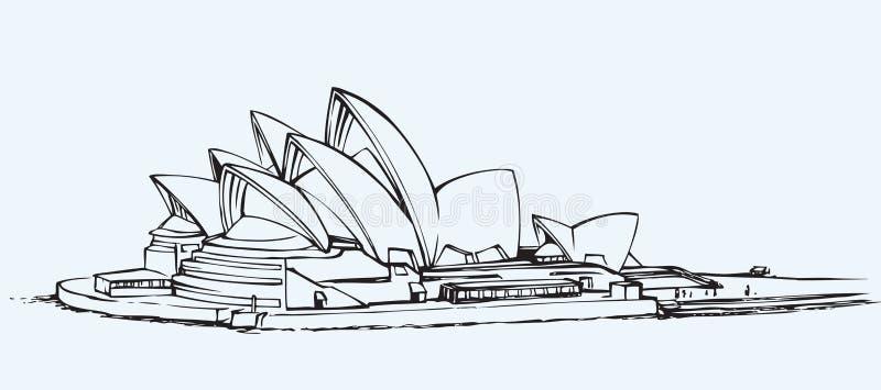 Sydney Opera House Vektorn skissar royaltyfri illustrationer
