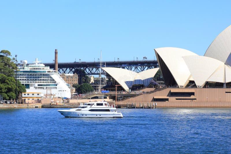 Sydney Opera House bay with yacht and cruise ship stock image