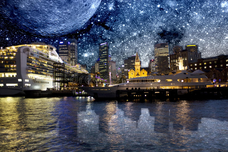 Sydney Opera Quay With Galactic Background Stock Photo