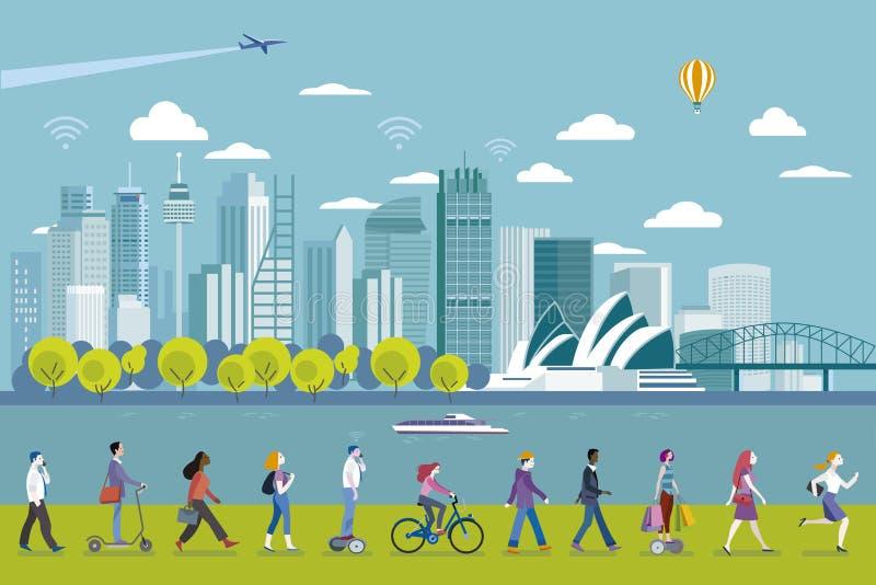 Sydney panorama- horisont vektor illustrationer
