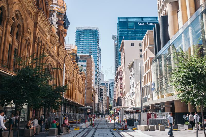Sydney Pitt St Mall. Sydney, Australia - Feb 8 - The Strand Arcade in the middle of a busy day in Sydney CBD on February 8th, 2019 stock photo