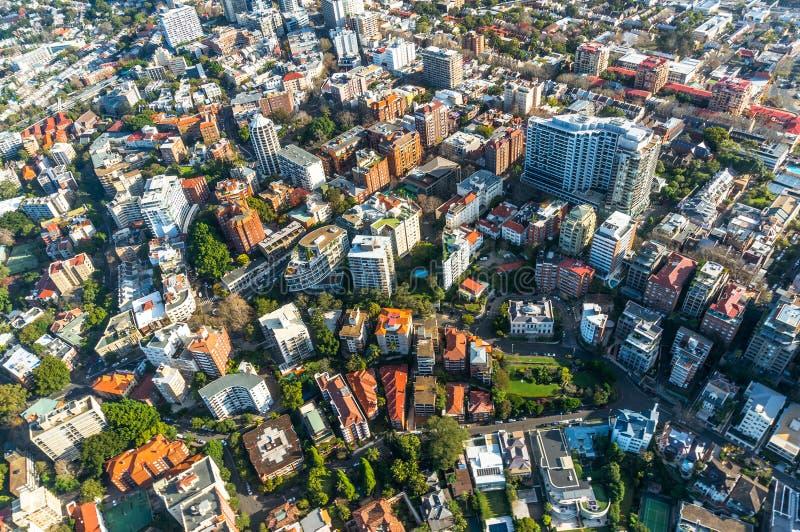 Sydney przedmieście od powietrza fotografia stock
