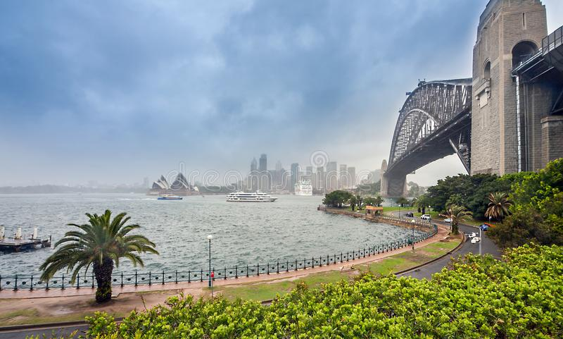 Sydney at rain with Harbor Bridge Australia royalty free stock photography