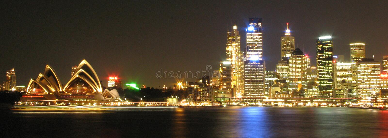 Sydney 's nachts, Australië royalty-vrije stock afbeeldingen