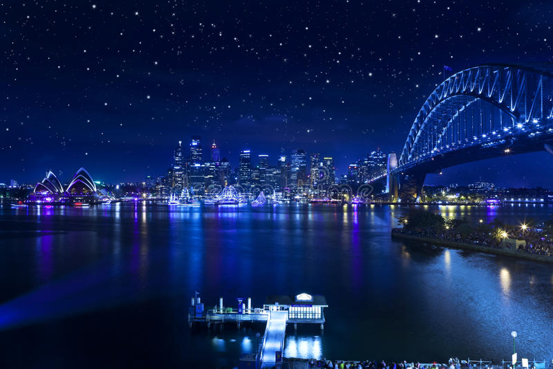 Sydney schronienia mosta gwiazdy fotografia royalty free