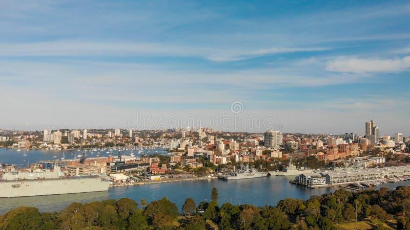 Sydney schronienia powietrzny panoramiczny widok przy zmierzchem, Nowe południowe walie, obraz stock
