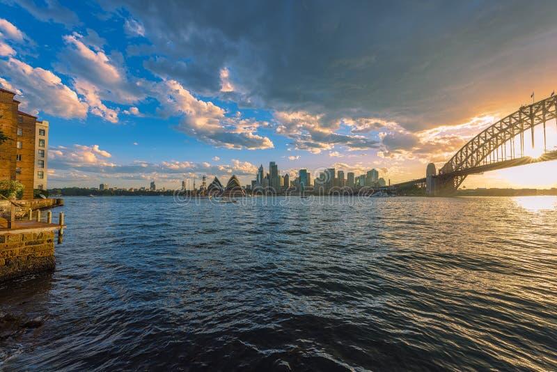 Sydney schronienie przy zmierzchem obraz royalty free