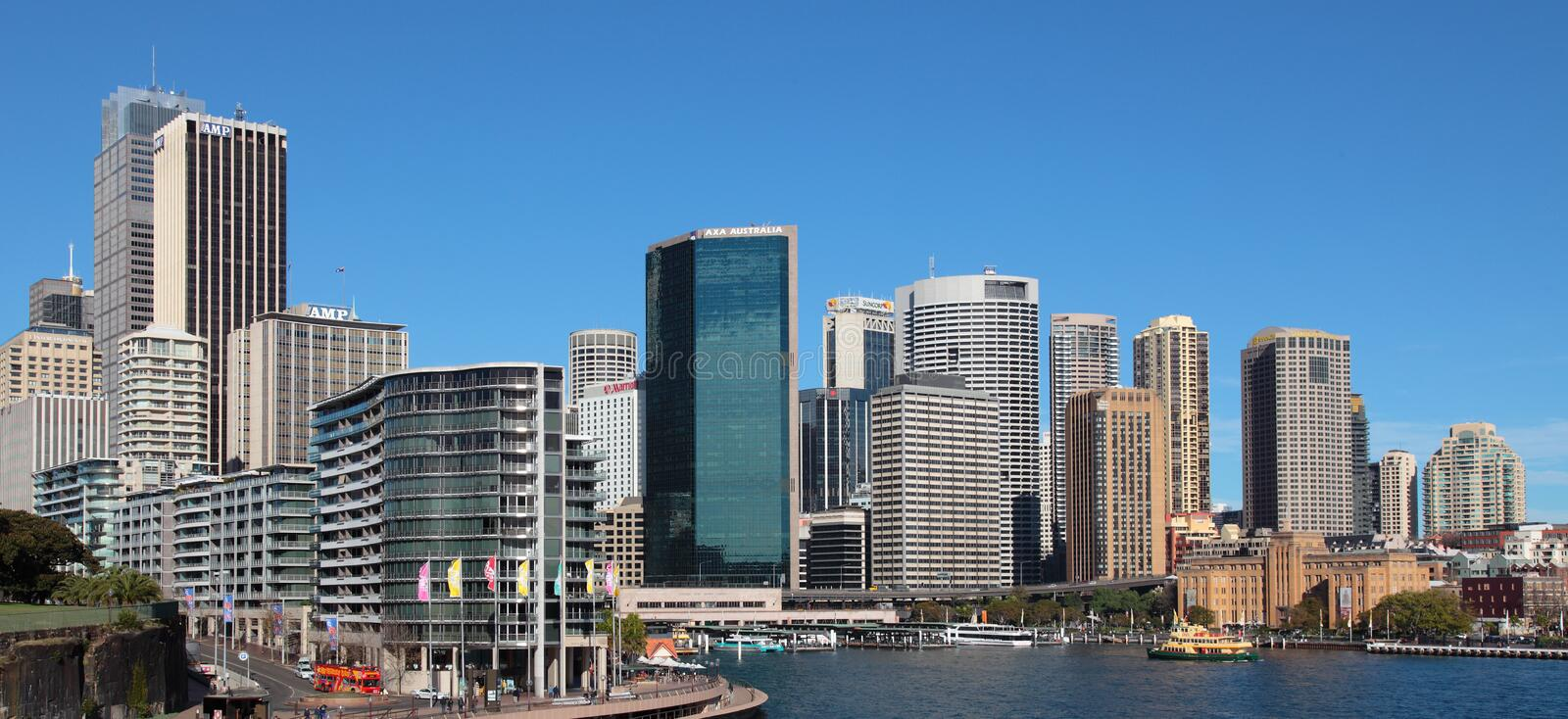 Sydney Skyline Circular Quay. City of Sydney, New South Wales territory/Australia. View from famous Opera house to Circular Quay (centre) and the historic royalty free stock photography