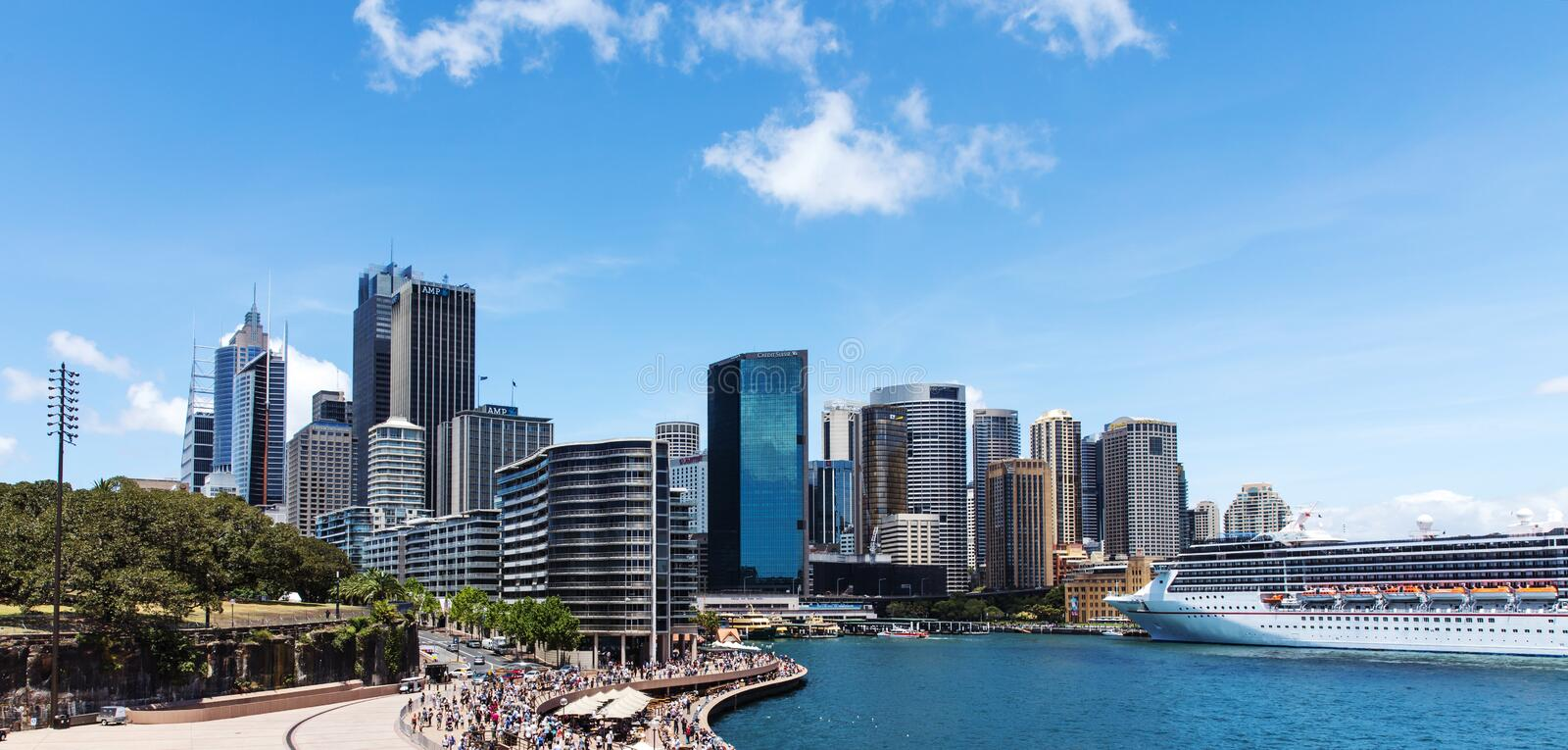 Sydney Skyline Circular Quay. City of Sydney, New South Wales, Australia. View from famous Opera house to Circular Quay. On a sunny day with blue sky with some royalty free stock photos