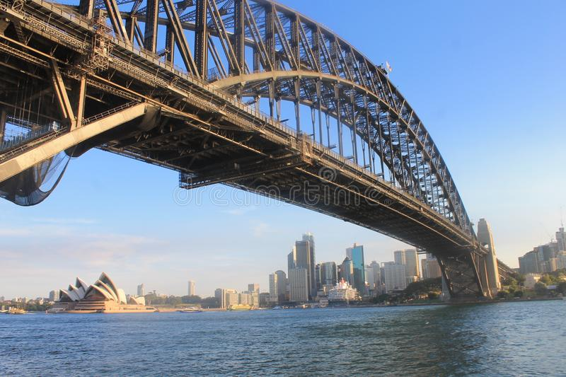 Sydney Skyline Harbour Bridge New sud du pays de Galles, Australie images libres de droits