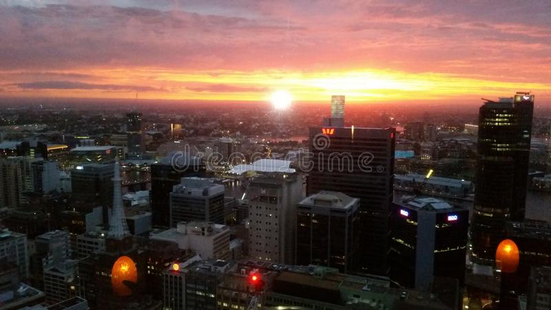 Sydney-Skyline nachts stockfoto