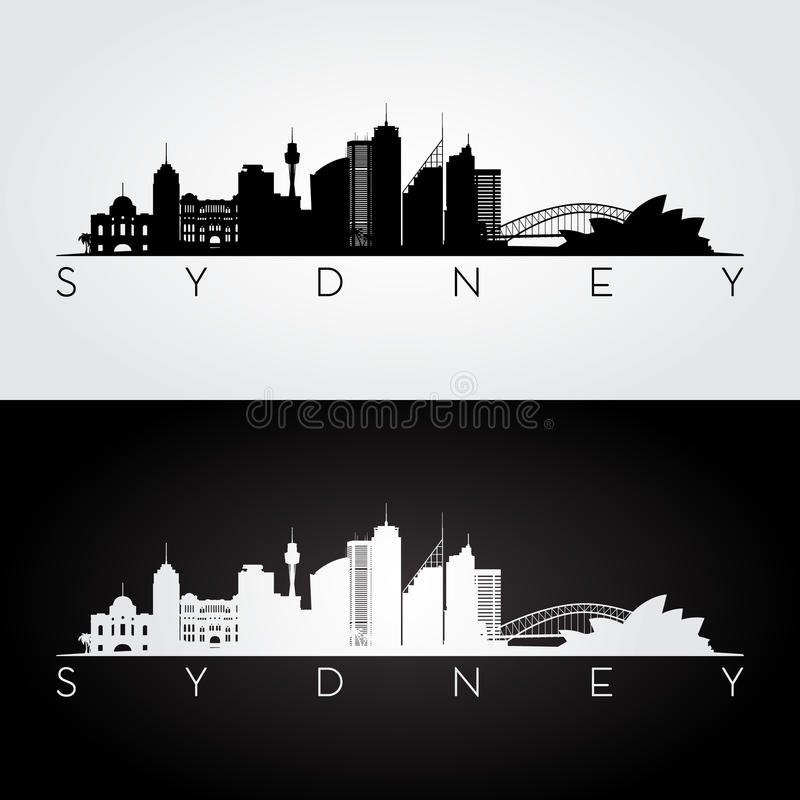 Download Sydney skyline silhouette. stock vector. Image of city - 83705063