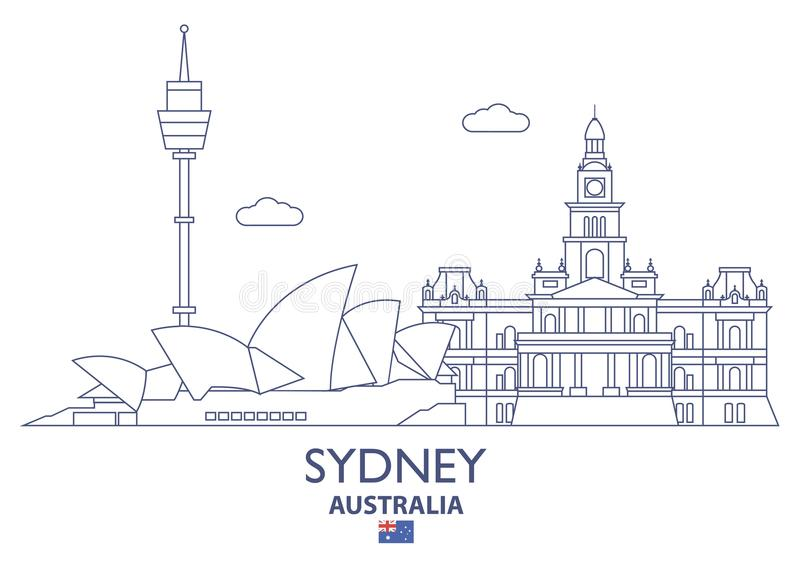 Sydney-Stadt-Skyline, Australien stock abbildung