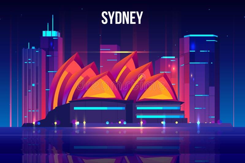 Sydney-Stadtbildkarikatur-Vektorhintergrund stock abbildung