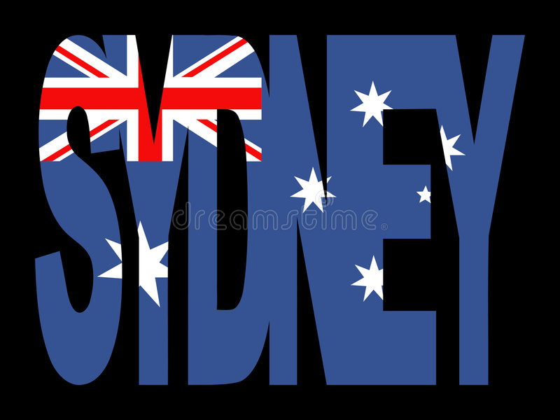 Download Sydney text with flag stock vector. Image of text, australia - 4442487