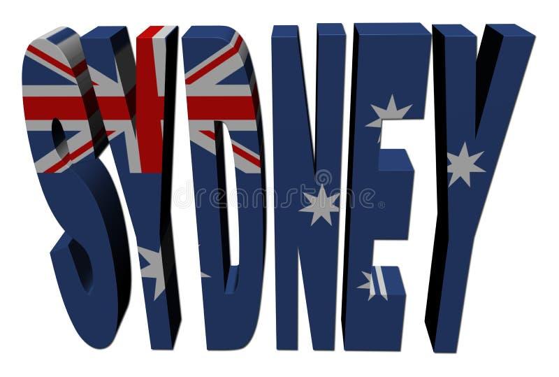 Sydney-Text mit australischer Markierungsfahne stock abbildung