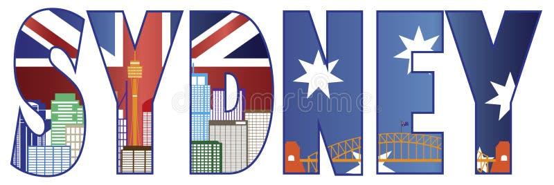 Sydney Text Outline with Skyline Color Illustration stock illustration