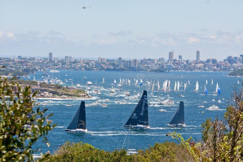 Sydney till det Hobart yachtloppet arkivfoto