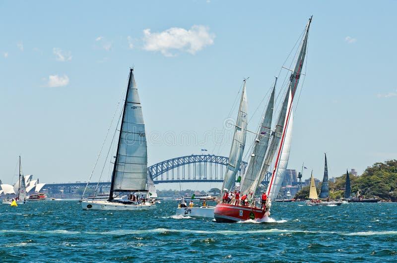 Sydney till det Hobart yachtloppet 2014 arkivfoto