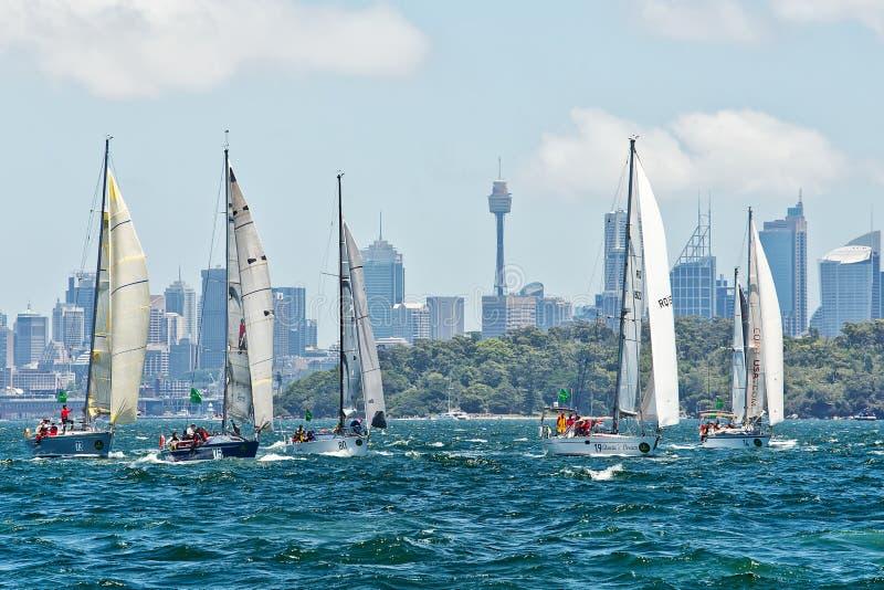 Sydney till det Hobart yachtloppet 2014 arkivbild