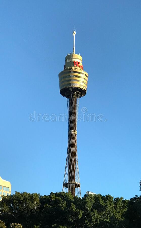 The Sydney Tower Australia. The Sydney Tower is iconic and one of the famous landmark of the city and best tourist attraction to visit. The Sydney Tower Eye and stock image