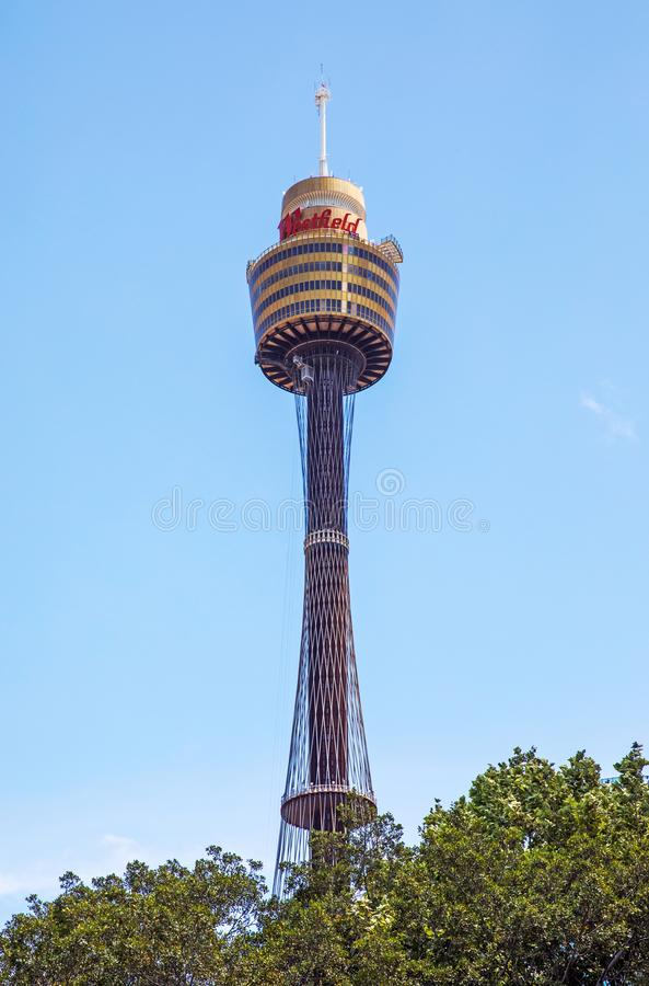 Sydney tower on blue sky stock photos