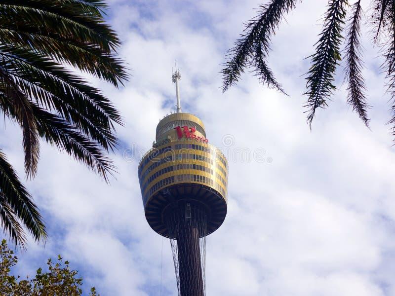 Sydney Tower With Hazy Clouds e céu azul, Austrália foto de stock