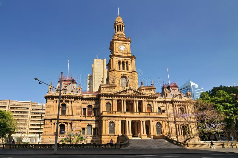 The Sydney Town Hall is a late 19th century building in the city of Sydney, the capital city of New South Wales, Australia.  royalty free stock image