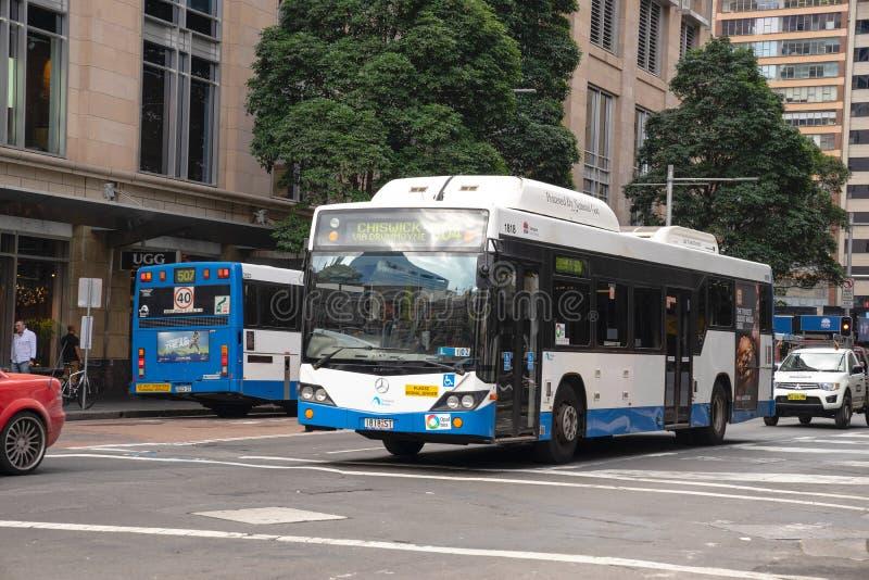 Sydney transporta el funcionamiento en la calle de George, una de tra del público de Sydney imagen de archivo libre de regalías