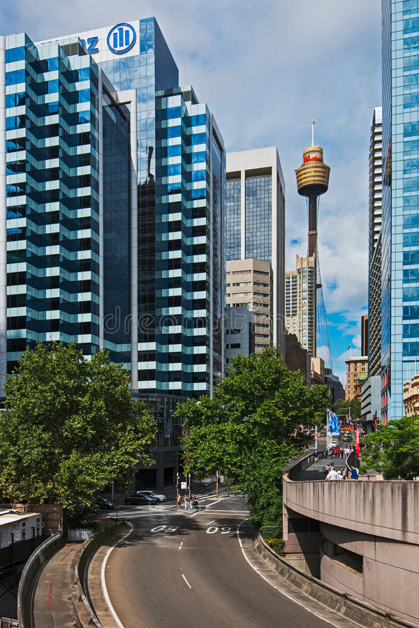 Sydney view with skyscrapers and sydney tower stock photos