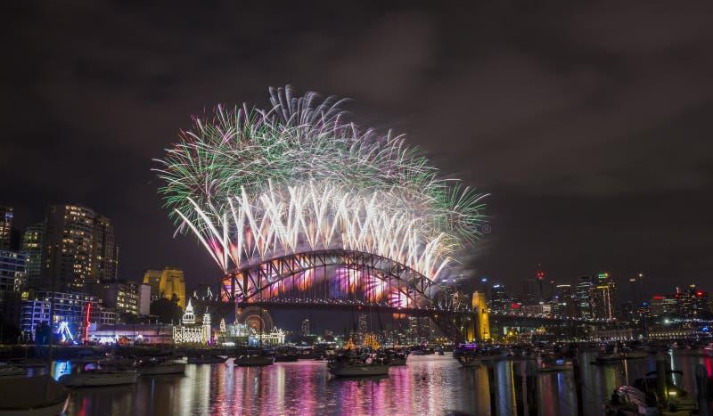 Sydney 2014 Vuurwerk stock afbeeldingen