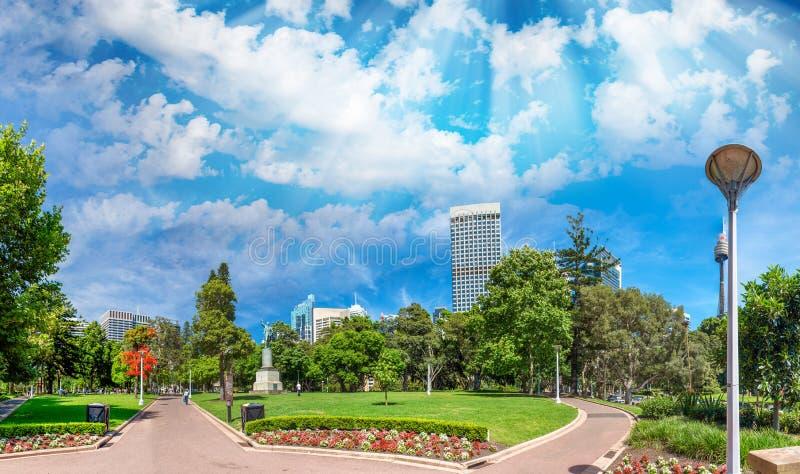 Sydney, zachód słońca Piękny widok Hyde park obrazy royalty free