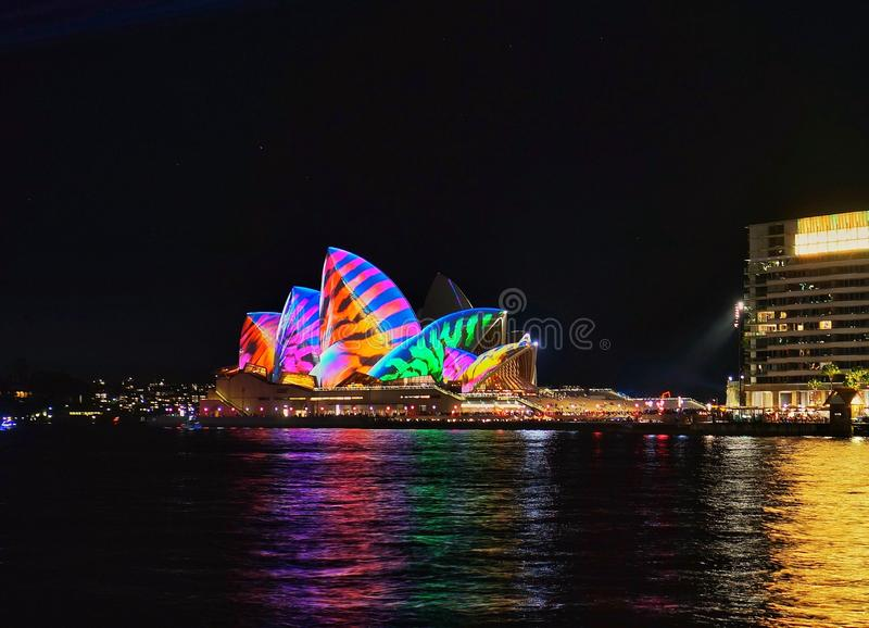 Sydneys för Sydney Opera House Lights Up during​livliga festival 2017 royaltyfri fotografi