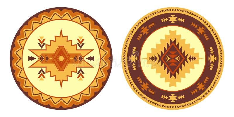 Sydvästlig amerikan, Aztec, rund filt för Navajo Etniskt dekorativt e vektor illustrationer