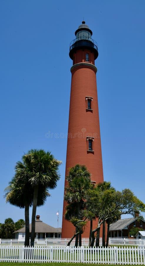 Sydvästlig sikt av Ponce de Leon Inlet Lighthouse royaltyfria bilder