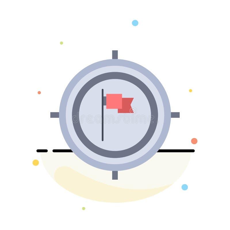 Syfte affär, stopptid, flagga, för färgsymbol för fokus plan vektor royaltyfri illustrationer