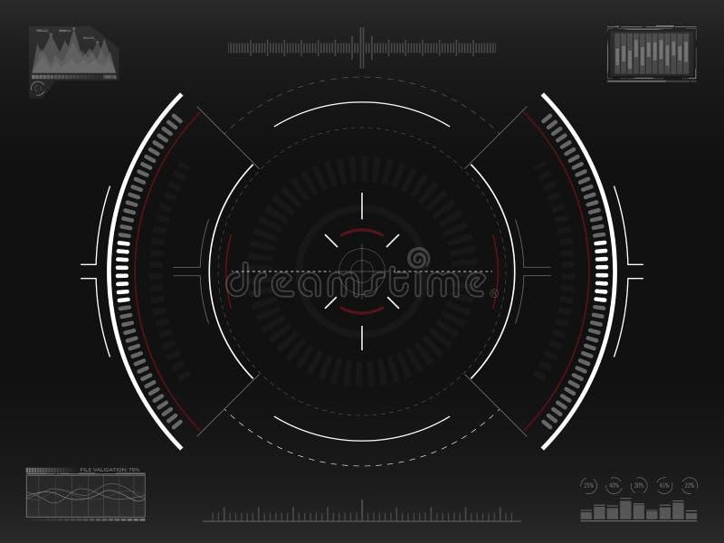 Syftesystem Futuristiskt siktande begrepp Modern crosshair Science fictionHUD manöverenhet UI med infographic beståndsdelar Rymds royaltyfri illustrationer