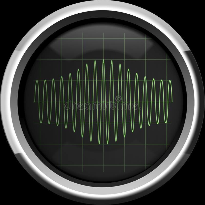 Sygnał z amplitudy modulacją na oscyloskopu ekranie w g royalty ilustracja