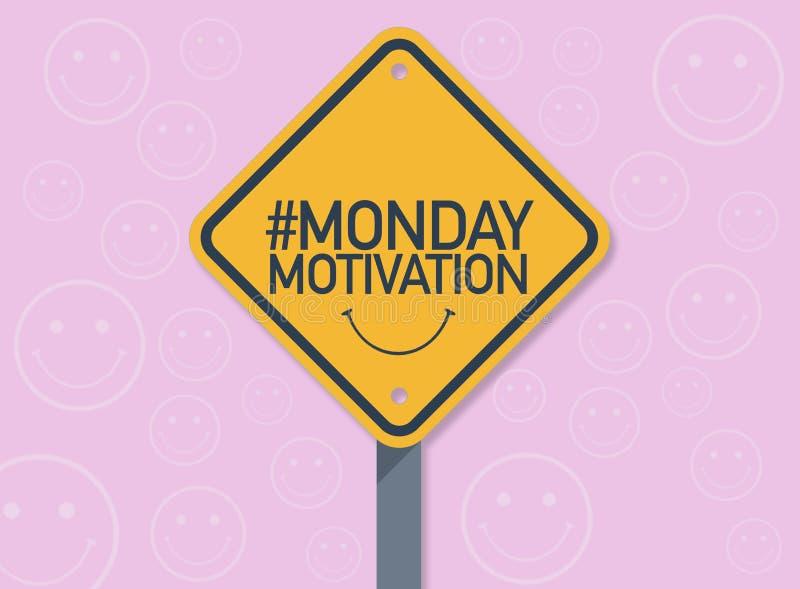 Sygnałowa droga z Poniedziałek motywacji hashtag ilustracji