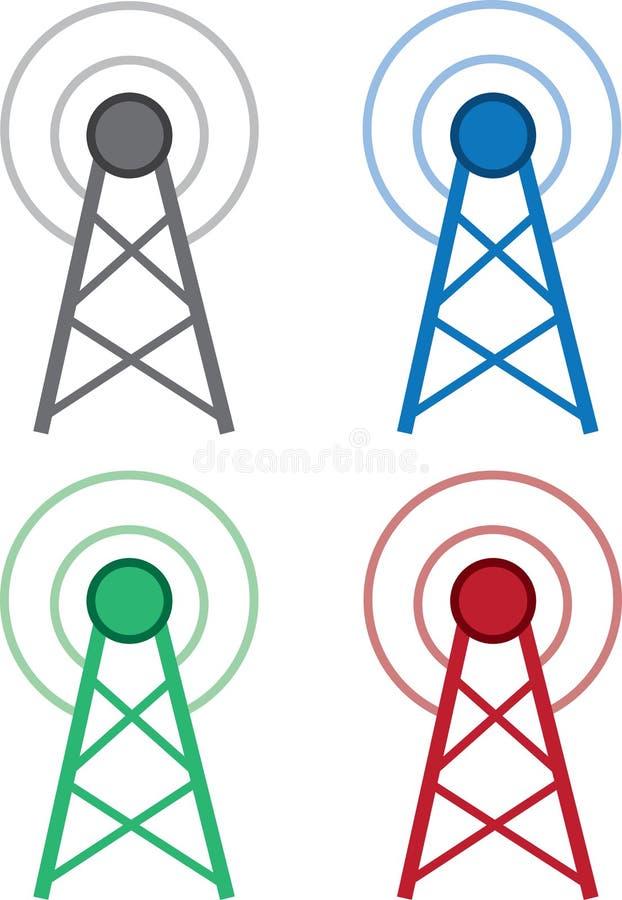 Sygnałowi Wifi wierza kolory royalty ilustracja