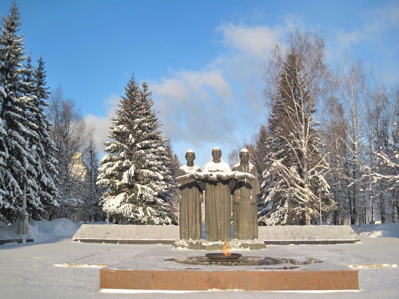 Syktyvkar. Um monumento às vítimas fotos de stock