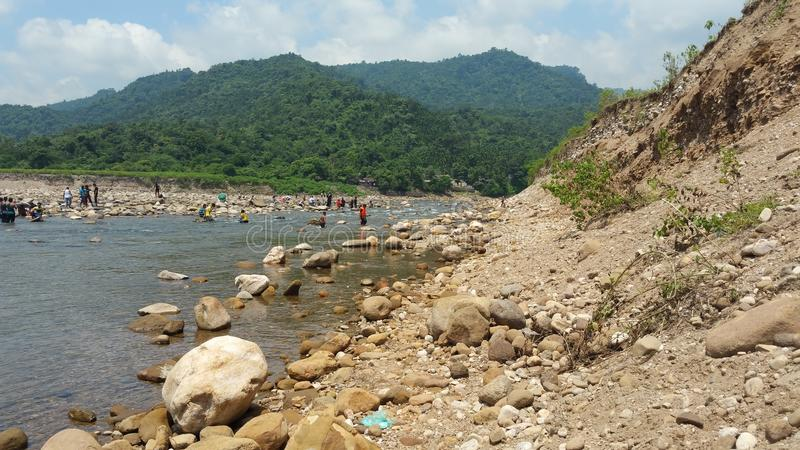 Sylhet hill with river stock images