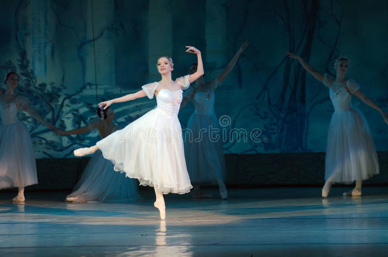 Sylphs. DNIPROPETROVSK, UKRAINE - FEBUARY 28, 2016: Sylphs (Shopeniana) ballet performed by Dnepropetrovsk Opera and Ballet Theatre ballet stock images