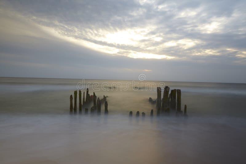 Sylt (Germania) - inguine nel tramonto immagine stock libera da diritti