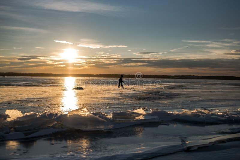 Sylvan Lake Sunset Over The-Ijs royalty-vrije stock foto