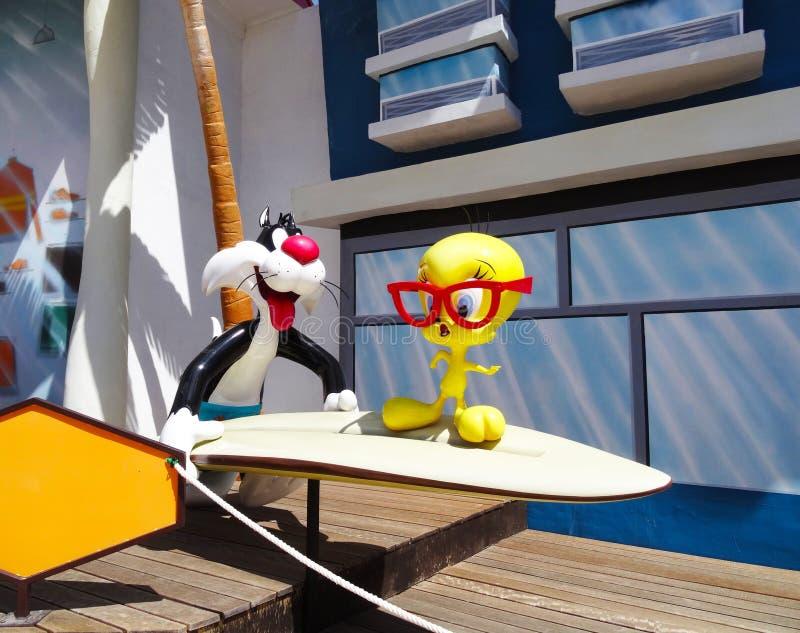 Sylvester и Tweety, парк Warner стоковое изображение rf