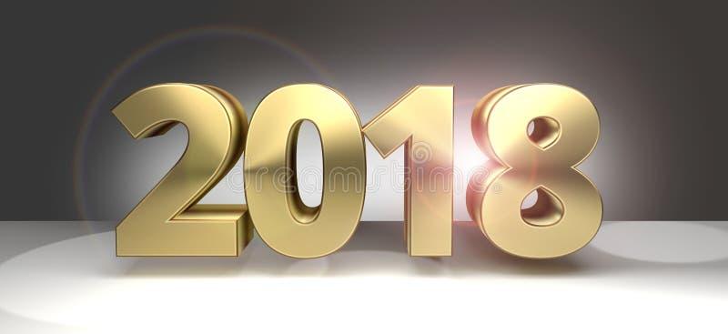 2018 sylvester dourado 2018 3D corajosos ilustração do vetor
