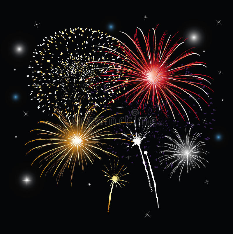 Sylvester fireworks. Fireworks at night, new years eve vector illustration